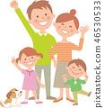 네 명의 가족 기쁘다 전신 46530533