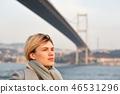 Portrait of a young woman under the Bosporus bridge. 46531296