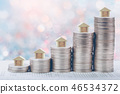 Coins stack in front of bank account book Savings  46534372