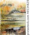 영국 호수 지방 그래 스미어 호수의 스케치 46534829