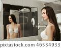 woman, underwear, mirror 46534933