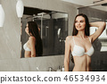 woman, bathroom, lingerie 46534934