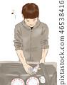 一個男人洗碗 46538416