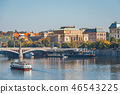 Vltava river and old downtown of Prague 46543225