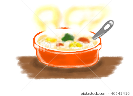 A hand-drawn illustration of steam coming out of a warm stew. 46543416