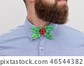 Bearded hipster with festive Christmas bow tie 46544382