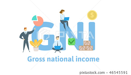 GNI, Gross National Income acronym. Concept with keywords, letters and icons. Flat vector 46545591