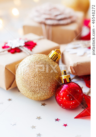 Christmas and New Year golden decorative balls 46548272