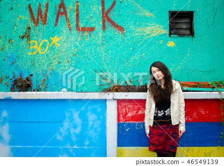 Japanese women posing on the street 46549139