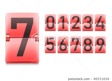 Set of numbers, digits in mechanical scoreboard style 46551038