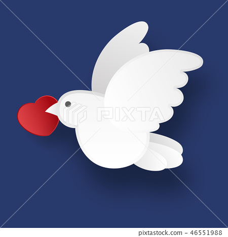 White dove on a blue background in the style 46551988
