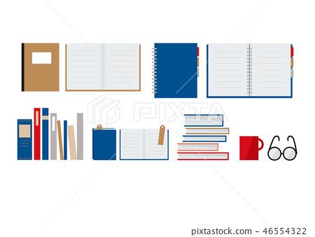 책과 노트, 안경과 머그컵 46554322