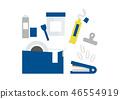 접착 테이프, 접착제 등 붙일 문구 블루 46554919