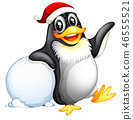 Penguin character with snowball 46555521