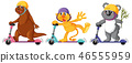 Set of animal playing kick scooter 46555959