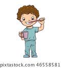 The boy stood brushing their teeth. 46558581