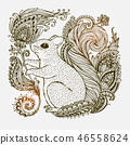 Hand drawn Ornamental highly detailed abstract. 46558624