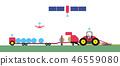 自動化農業拖拉機和草集合。 46559080