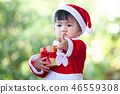 asian baby girl wearing santa suit with gift box 46559308
