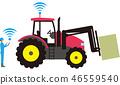스마트 농업. 자동화 된 농업용 트랙터와 목초 재배. 46559540