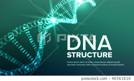 Dna Structure Vector. Abstract Helix. Genetic Molecule. Futuristic Code. Illustration 46561610