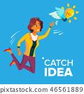 catch, jump, businesswoman 46561889