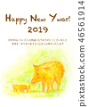 Material for new year's cards boar 46561914