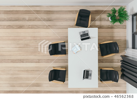 Top view of a conference room office interior.  46562368