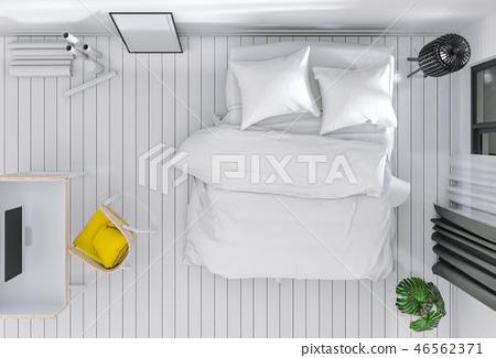 top view of interior bedroom with desktop computer 46562371