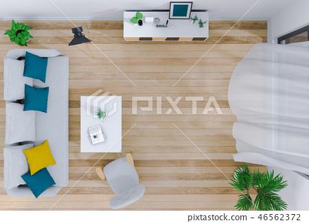 top view of interior living room. 3D render 46562372