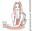 Gingham check in a cafe 46562940