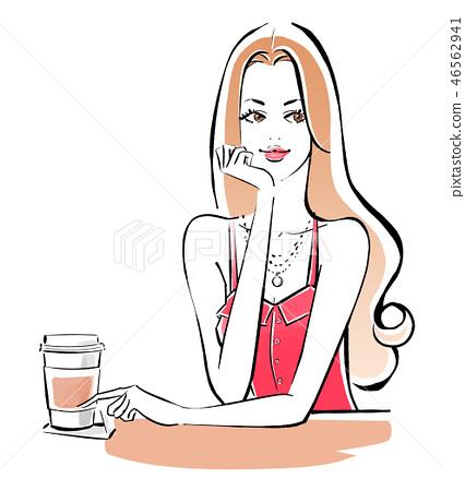 在咖啡館的桃紅色夏天衣裳 46562941
