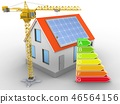 3d illustration of house with energy and crane 46564156