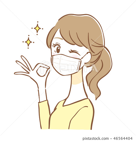 Mask Woman OK Sign - Stock Illustration [46564404] - PIXTA