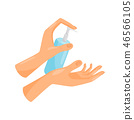 Washing hands, liquid soap pumping from bottle, hygiene, health care and sanitation, prevention of 46566105