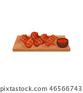 Grilled chicken wings served on a wooden board with sauce, tasty poultry dish vector Illustration on 46566743