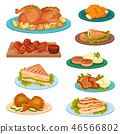 Collection of tasty poultry dishes, fried chicken meat, cutlets, sandwich served on plates vector 46566802