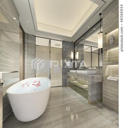modern bathroom with luxury tile decor - stock