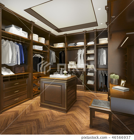uxury scandinavian wood walk in closet  46566937