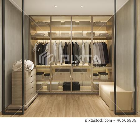 uxury scandinavian wood walk in closet  46566939