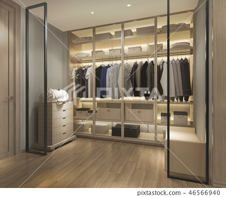 uxury scandinavian wood walk in closet  46566940