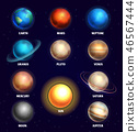 Planets of solar system and sun education vector illustration 46567444