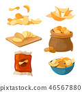 Salty fried potato chips snacks vector set 46567880