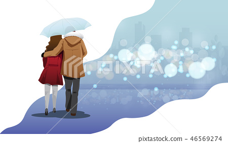 Valentine day concept, couple walking  46569274