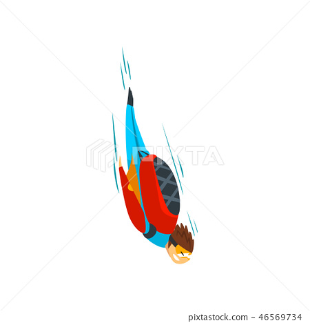 Skydiver man falling through the air, free fall, skydiving, parachuting extreme sport vector 46569734