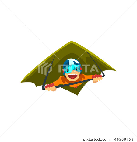 Man in wingsuit flying, skydiving, parachuting extreme sport vector Illustration on a white 46569753
