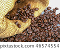 Coffee beans in burlap sack 46574554