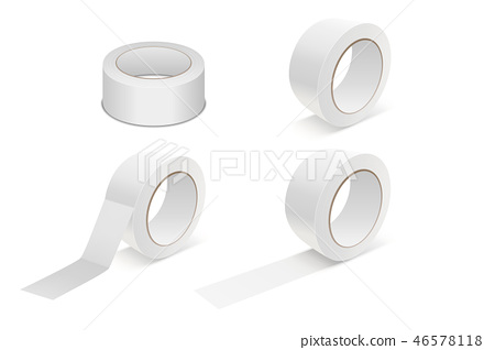 Vector Realistic White 3d Matte Tape Roll Icon Set or Mock-up Closeup Isolated on White Background 46578118