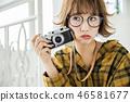 카메라 여자 안경 여자 외 하네헤아 46581677