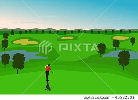 Golfers are golfing in the  golf court 46582501